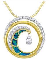 na hoku gold and diamond wave pendant
