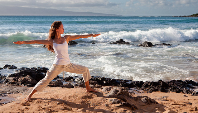 Photo of yoga on the beach in Maui