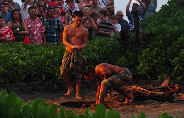 Old Germaine's luau in Maui - preparing the imu