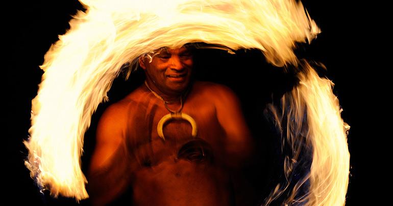 Maui fire dancer