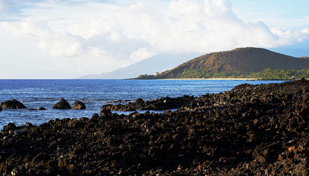 Pu'u Olai (Red Hill) and Big Beach as seen from Ahihi Cove in south Maui