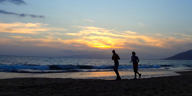 Sunset runners in Kihei, Maui