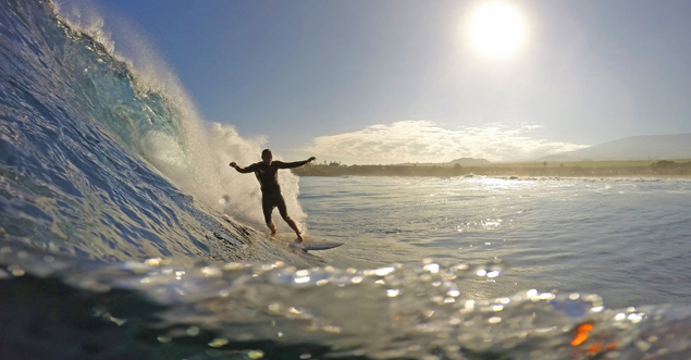 Surfing on Maui's North Shore