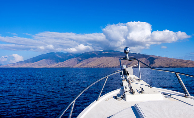 Looking towards the West Maui mountains from a boat