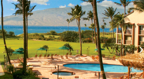 Luana Kai oceanfront Kihei Maui condos view of swimming pool