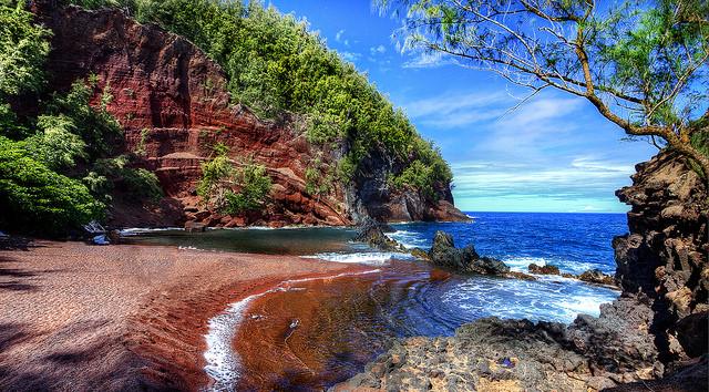 Red Sand Beach on Kaihalulu Bay in Hana