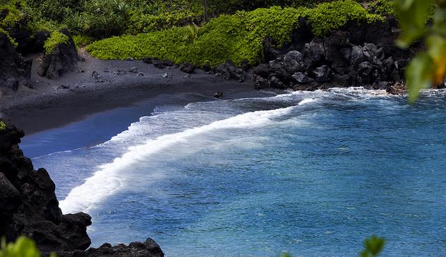 Black sand beach in Hana