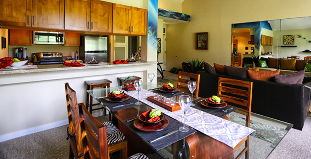 Imagine the possibilities at this dining table of your Wailea vacation rental