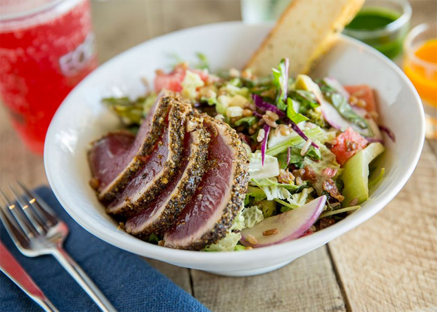 Blackened ahi salad at Fork and Salad