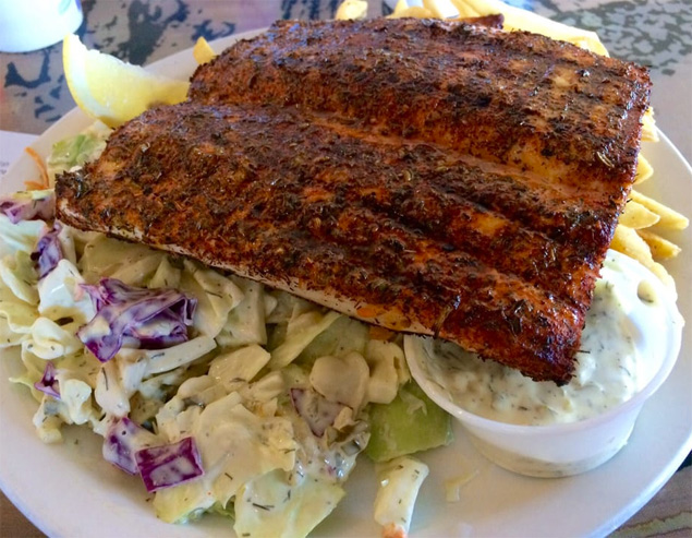 Blackened ono with hand-cut slaw