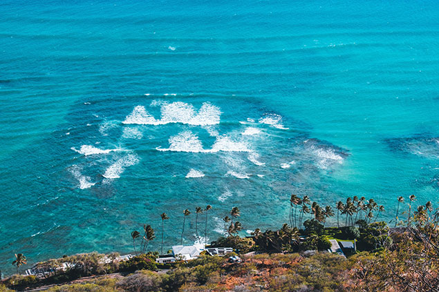 View of Diamond Head Beach as you run by it from above